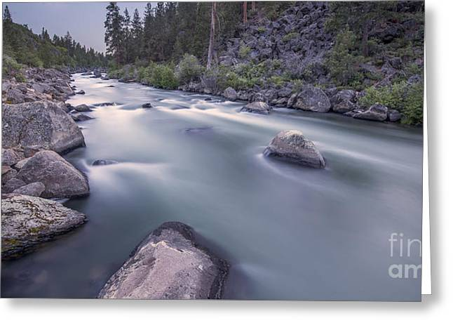 Deschutes River Greeting Cards - Dusk Rapids Greeting Card by Twenty Two North Photography