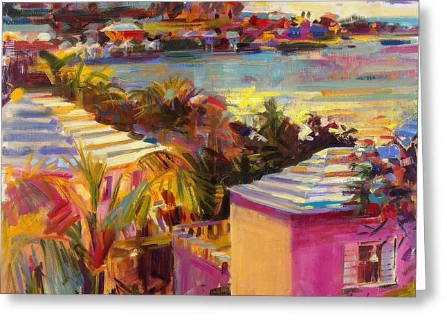 Dusk Paintings Greeting Cards - Dusk Reflections Bermuda  Greeting Card by Peter Graham