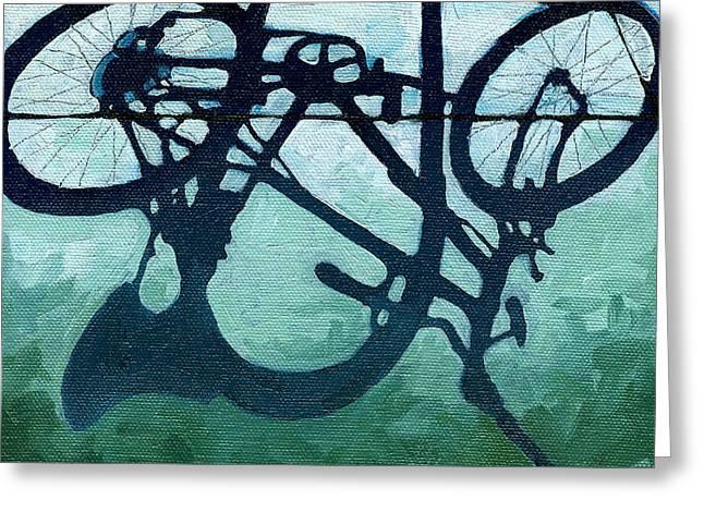 Dusk Shadows - Bicycle Art Greeting Card by Linda Apple