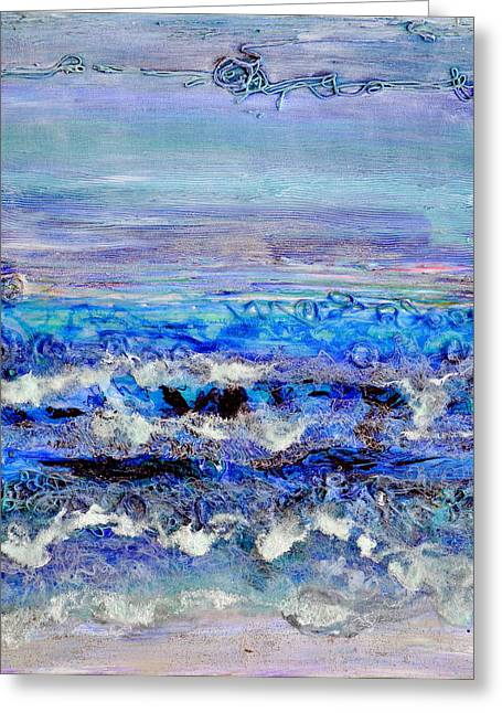 Beaches Reliefs Greeting Cards - Dusk Tide Greeting Card by Regina Valluzzi