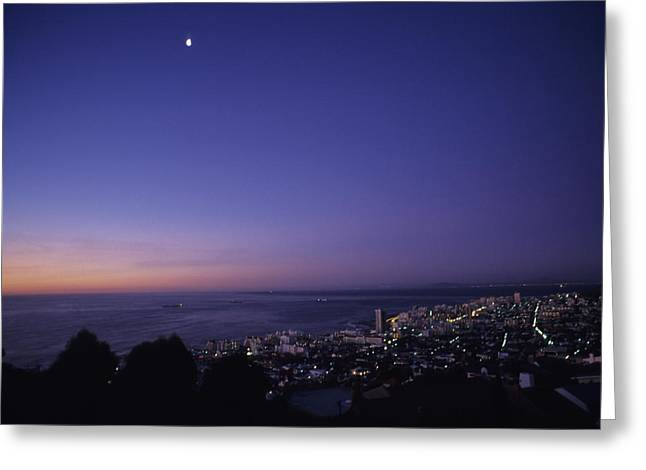 Ocean Vistas Greeting Cards - Dusk View Of The City Of Cape Town Greeting Card by Stacy Gold