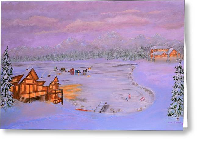 Hockey Paintings Greeting Cards - Dusk Winter Lake Greeting Card by Ken Figurski