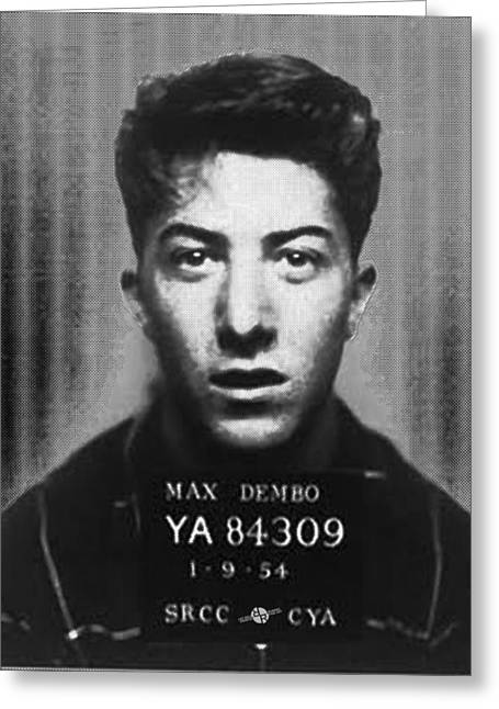 Dustin Hoffman Mug Shot For Film Vertical Greeting Card by Tony Rubino