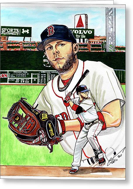 Boston Red Sox Drawings Greeting Cards - Dustin Pedroia Greeting Card by Dave Olsen