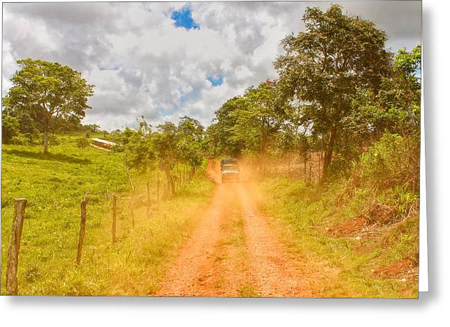 Paradise Road Greeting Cards - Dusty Jamaican Road Greeting Card by John Bailey
