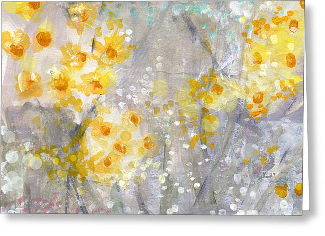 Dusty Blue Greeting Cards - Dusty Miller- Abstract Floral Painting Greeting Card by Linda Woods