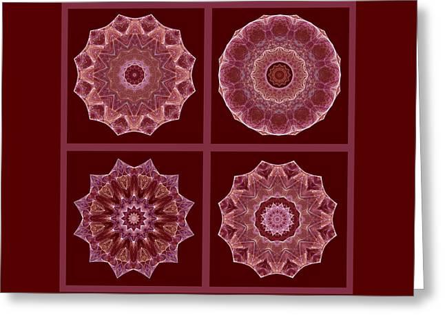 Kaleidoscope Greeting Cards - Dusty Rose Mandala Fractal Set Greeting Card by Ruth Moratz