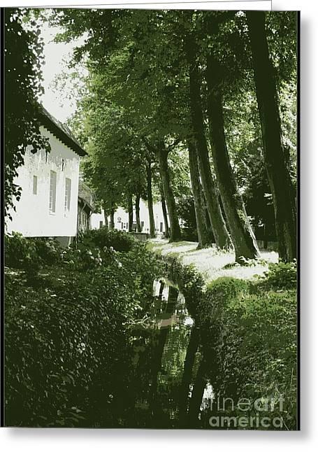 Moss Green Greeting Cards - Dutch Canal - Digital Greeting Card by Carol Groenen