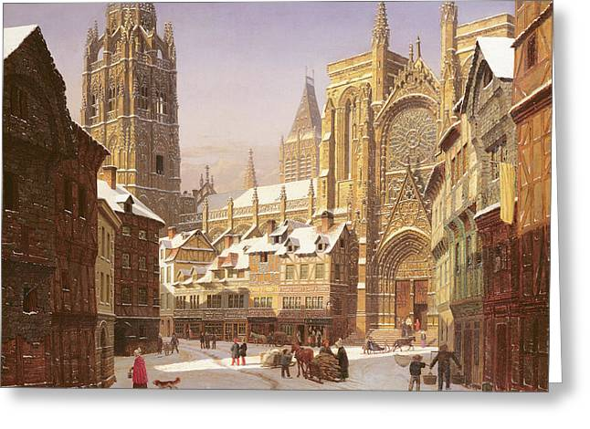 Dutch Cathedral Town Greeting Card by Heinrich Hansen