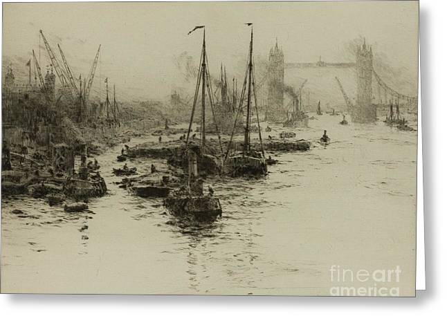 Dutch Eel Boats In The Pool Of London Greeting Card by William Lionel Wyllie