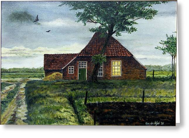 Trees Light Windows Greeting Cards - Dutch Farm at Dusk Greeting Card by Arie Van der Wijst