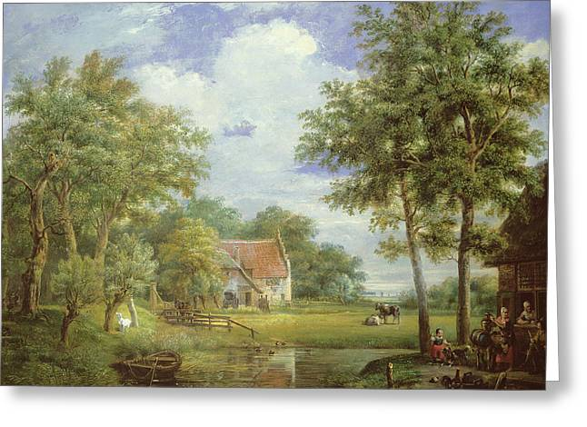 Dutch Farm Scene Greeting Card by Carel Lodewijk Hansen