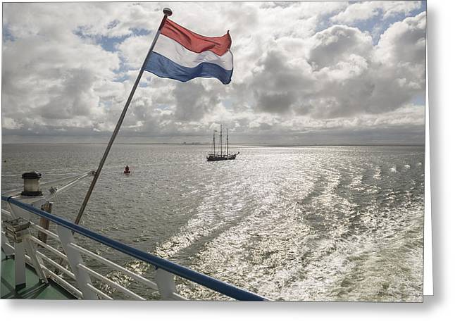 Sailing Ship Greeting Cards - Dutch flag with sea Greeting Card by Tonko Oosterink