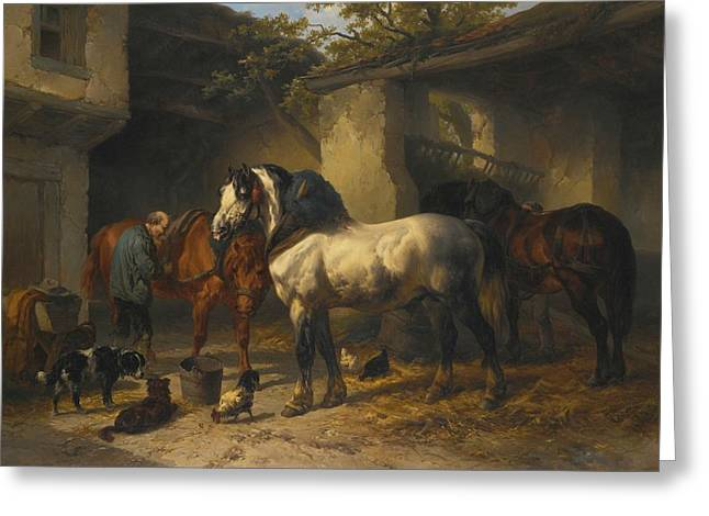 Dutch Horses In A Stableyard Greeting Card by MotionAge Designs