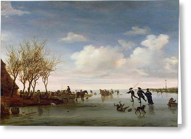 Anecdotal Greeting Cards - Dutch landscape with Skaters Greeting Card by Salomon van Ruysdael