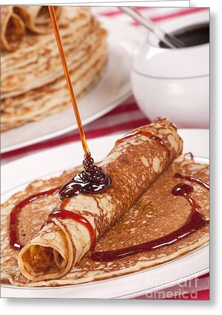 Dutch Pancakes With Syrup Or 'pannenkoeken Met Stroop' Greeting Card by Sara Winter