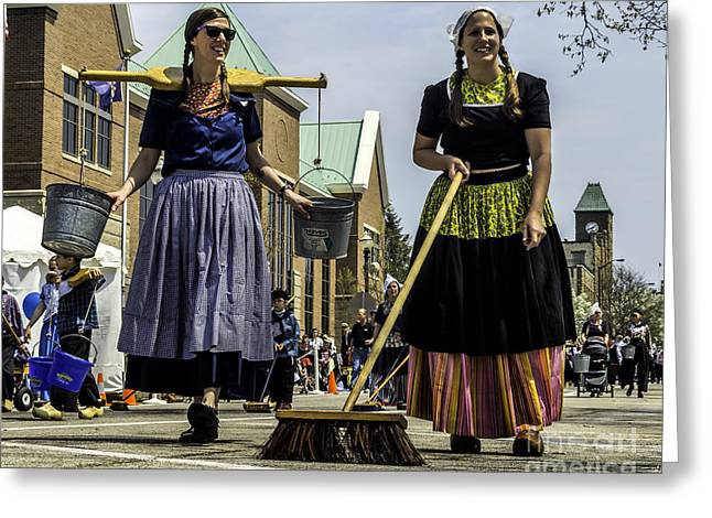 Street Sweeper Greeting Cards - Dutch Parade Street Sweepers Greeting Card by Nick Zelinsky