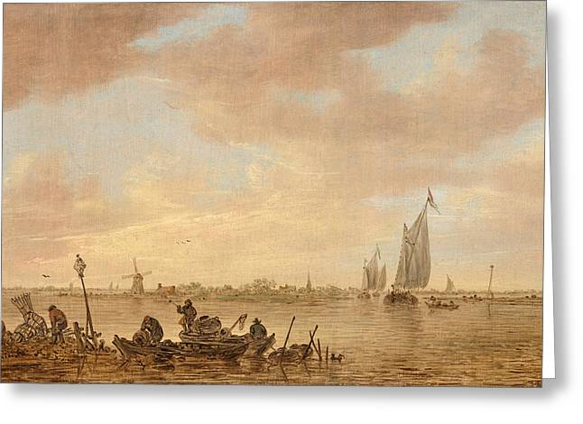 1656 Greeting Cards - Dutch seascape with fishings boats Greeting Card by Jan van Goyen