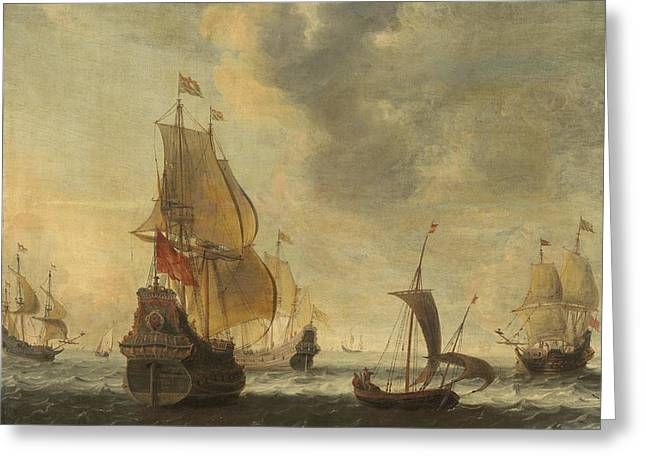 Breezy Greeting Cards - Dutch Ships In A Lively Breeze Greeting Card by Circle Of Jacob Adriaensz Bellevois