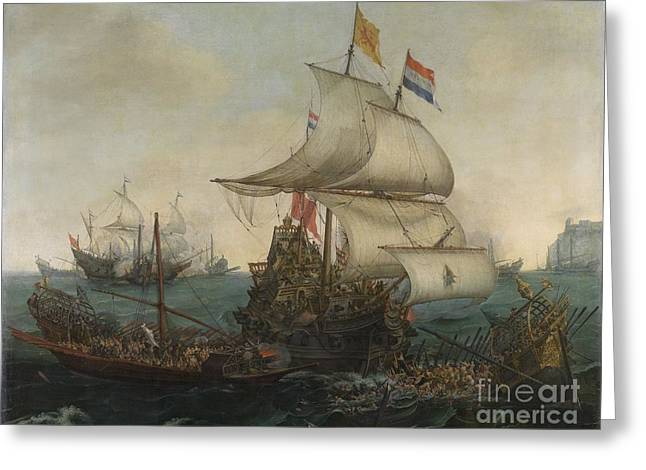 Dutch Ships Ramming Spanish Galleys Off The Flemish Coast In October Greeting Card by Celestial Images