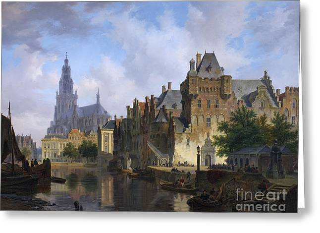 People Paintings Greeting Cards - Dutch town Greeting Card by  Bartholomeus van Hove