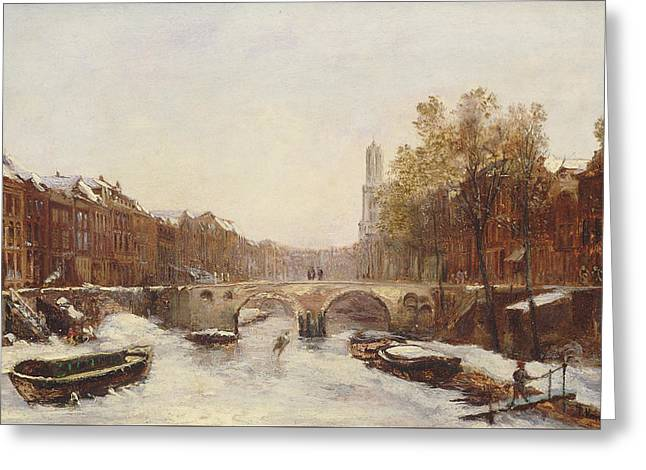 Barges Greeting Cards Greeting Cards - Dutch Town in Winter Greeting Card by Pierre Tetar van Elven