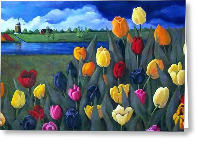 Dutch Tulips With Landscape Greeting Card by Joyce Geleynse