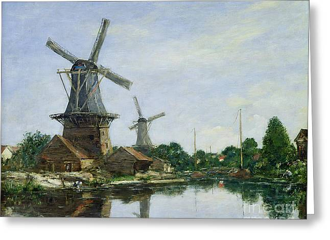 Boudin; Eugene Louis (1824-98) Greeting Cards - Dutch Windmills Greeting Card by Eugene Louis Boudin