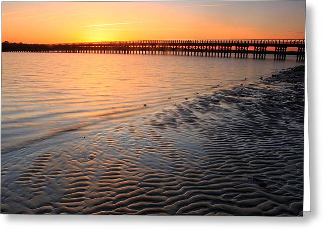 New England Coast Greeting Cards - Duxbury Beach Powder Point Bridge Sunset Greeting Card by John Burk