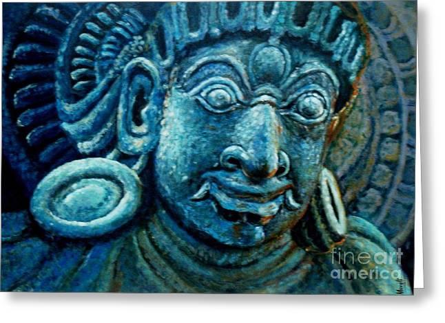Icon Reliefs Greeting Cards - Dwaarapalaka Gatekeeper Greeting Card by Murali