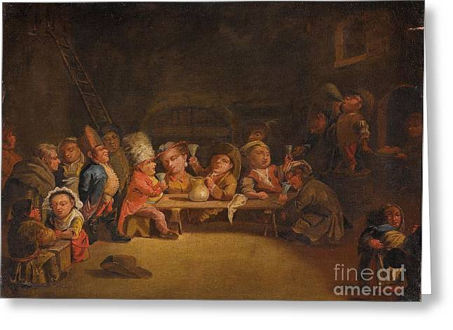 Lombard School Greeting Cards - Dwarfs In A Tavern Greeting Card by Celestial Images