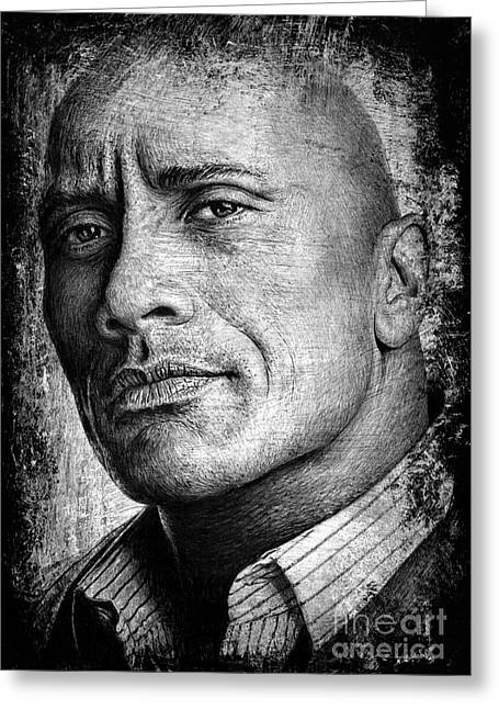 Dwayne Johnson Greeting Card by Andrew Read