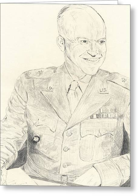 General Dwight D Eisenhower Greeting Cards - Dwight David Eisenhower  Greeting Card by Dennis Larson
