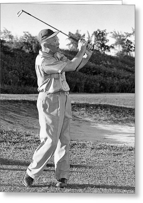 Dwight Eisenhower Golfing Greeting Card by Underwood Archives