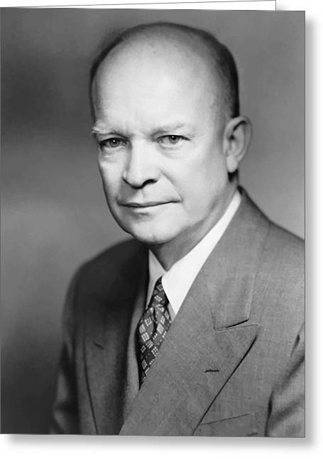 D Greeting Cards - Dwight Eisenhower Greeting Card by War Is Hell Store