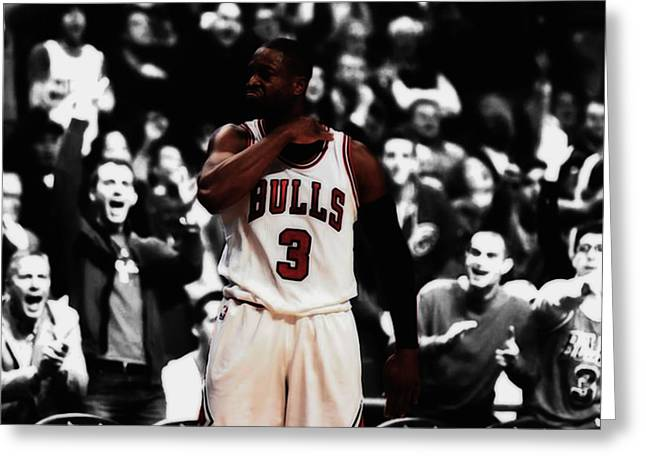 Dwyane Wade 3 Point Dagger Greeting Card by Brian Reaves
