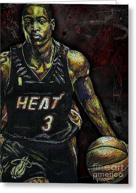 Player Drawings Greeting Cards - Dwyane Wade Greeting Card by Maria Arango