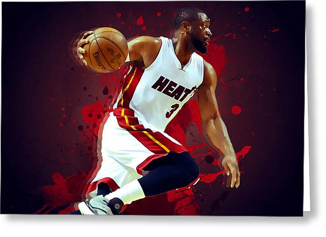 Miami Heat Posters Greeting Cards - Dwyane Wade Greeting Card by Semih Yurdabak