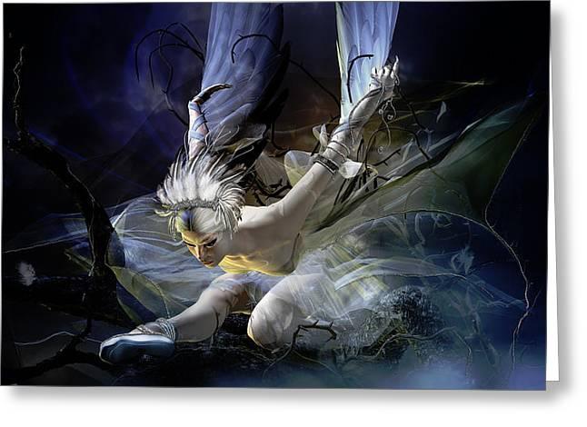 Dying Swan Greeting Card by Karen K
