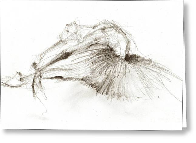 Dying Swan Or Ballerina In White Tutu Greeting Card by Lousine Hogtanian