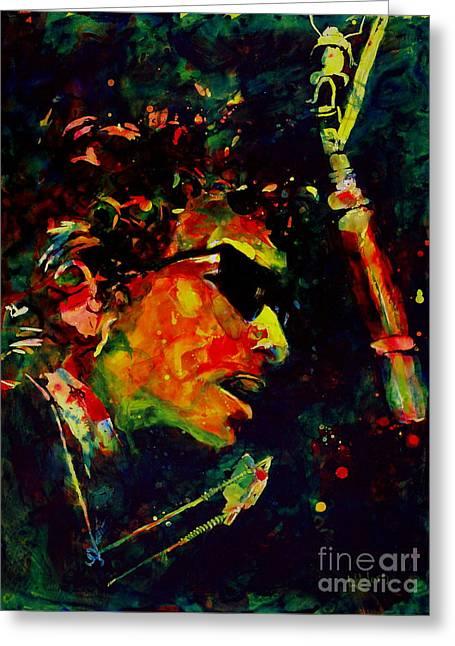 Bob Dylan Paintings Greeting Cards - Dylan Greeting Card by Linda Halom