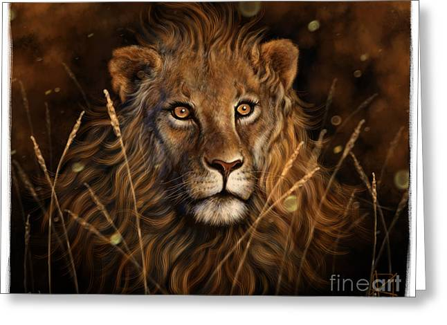 Wildlife Digital Art Greeting Cards - Dylans Lion Greeting Card by Andre Koekemoer