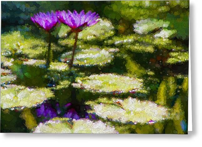 Twinkle Greeting Cards - Dynamic Duo Waterlily Impressions Greeting Card by Georgia Mizuleva
