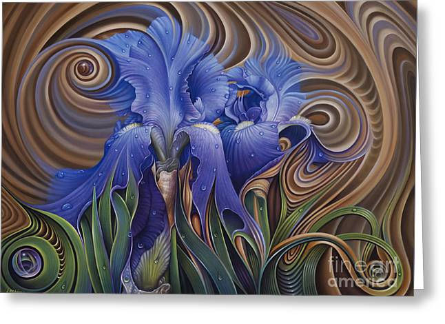 Spheres Paintings Greeting Cards - Dynamic Iris Greeting Card by Ricardo Chavez-Mendez