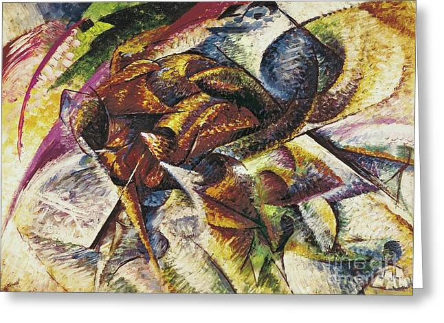 Umberto Boccioni Greeting Cards - Dynamism of a Cyclist Greeting Card by Umberto Boccioni
