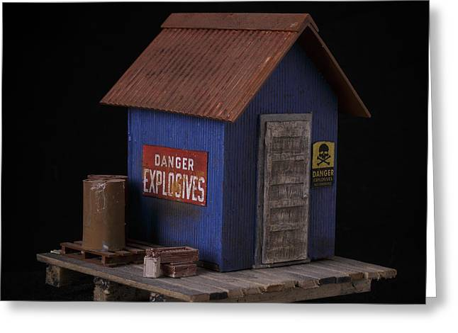 Sculptures Greeting Cards - Dynamite Shack Original Sculpture Greeting Card by Edward Fielding