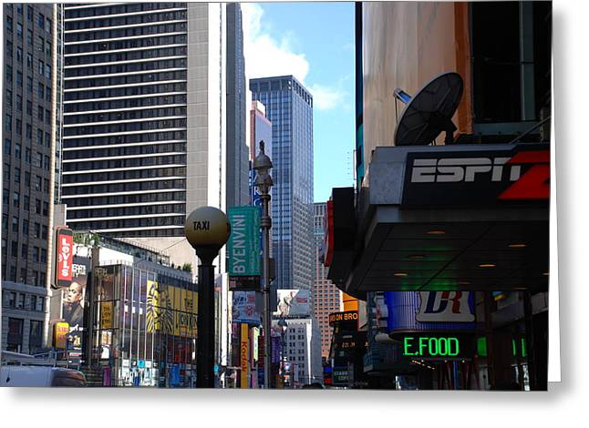 Espn Greeting Cards - E Food  Taxi  New York City Greeting Card by Rob Hans