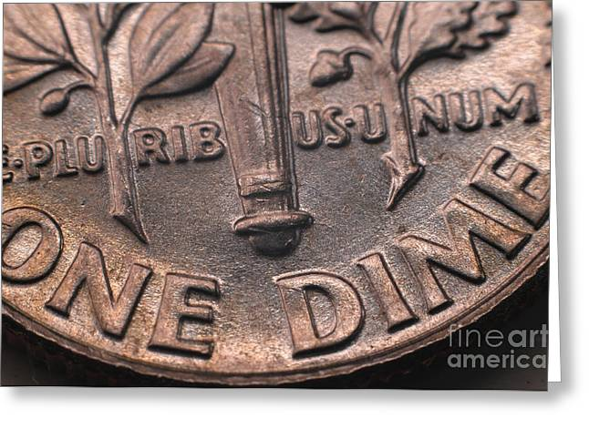 Dimes Greeting Cards - E-pluribus-unum Greeting Card by Miguel Celis