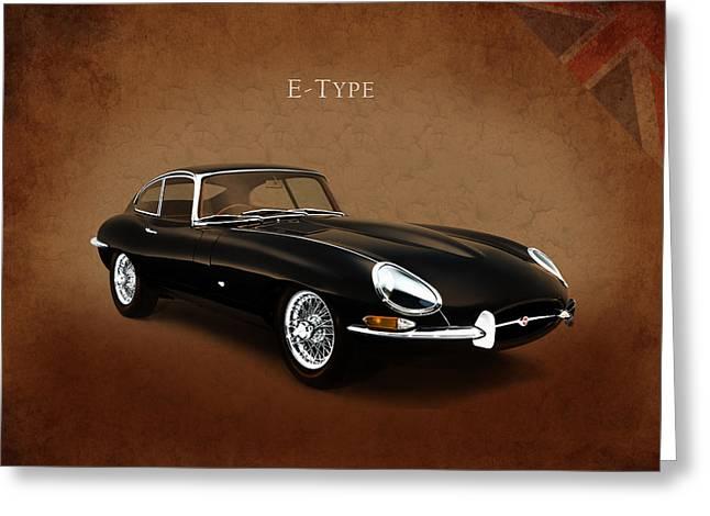 E Type Jaguar Greeting Card by Mark Rogan