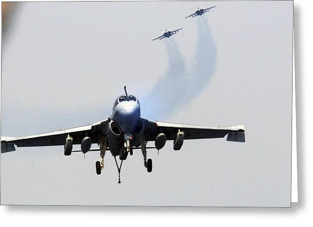 F-18 Paintings Greeting Cards - EA-6B Prowler US Navy Greeting Card by Celestial Images